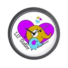 Lil Sister Elephant Personalized Wall Clock