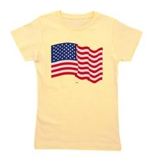 American Flag Waving Girl's Tee