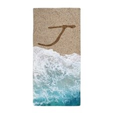 LETTERS IN SAND J Beach Towel