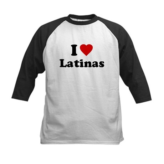 I Love [Heart] Latinas Kids Baseball Jersey