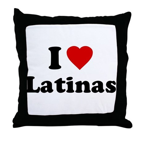 I Love [Heart] Latinas Throw Pillow