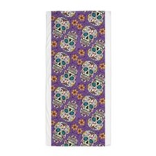 Sugar Skull Purple Beach Towel