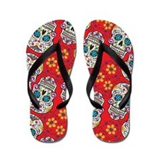 Day of The Dead Sugar Skull Flip Flops