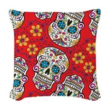 Day of The Dead Sugar Skull Woven Throw Pillow