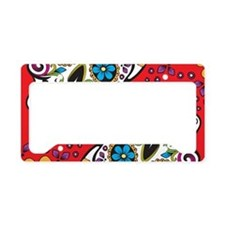 Sugar Skull Red License Plate Holder