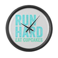Run Hard Eat Cupcakes Large Wall Clock