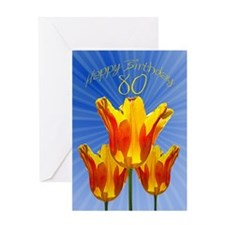 80th Birthday card, tulips full of sunshine Greeti