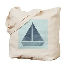 Abstract Mint Blue Green Sea Sailboat Tote Bag