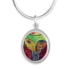 Swirly Owl Collage Silver Oval Necklace