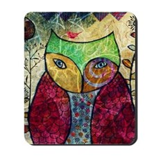 Swirly Owl Collage Mousepad