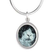 Black and White Cat. Silver Oval Necklace
