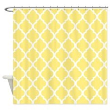 Lemon Yellow Quatrefoil Pattern Shower Curtain
