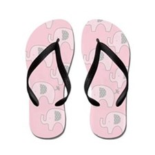 Pink and Gray Modern Elephant Flip Flops