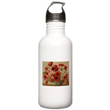 Red Poppy Bouquet Water Bottle