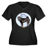 Shar Pei Portrait Women's Plus Size V-Neck Dark T-
