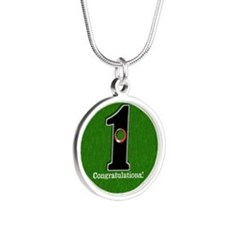 Customized Lucky Golf Hole i Silver Round Necklace