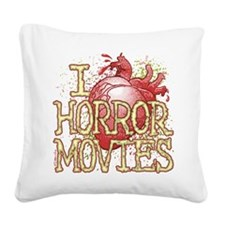 I Heart Horror Movies Square Canvas Pillow