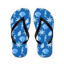 Blue Seashells Flip Flops