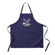 Personalize mom Flowers & Butterflies Apron (dark)