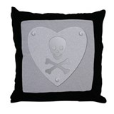 Silver Engraved Skull and Crossbones Throw Pillow