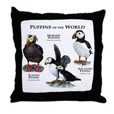 Puffins of the World Throw Pillow