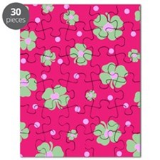 Cute Hot Pink LUCKY IN LOVE Puzzle