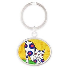 Yoga Cat Oval Keychain