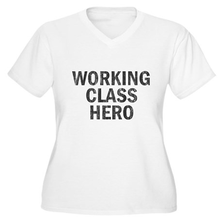 Working Class Hero Womens Plus Size V-Neck T-Shir