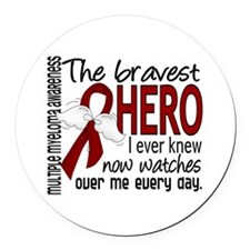Multiple Myeloma Bravest Hero Round Car Magnet