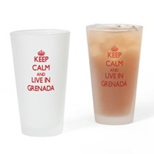 Keep Calm and live in Grenada Drinking Glass