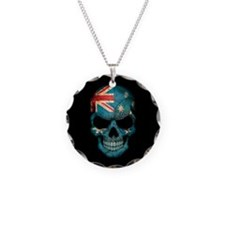 Australian Flag Skull on Black Necklace