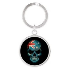 Australian Flag Skull on Black Keychains