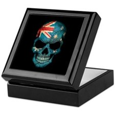 Australian Flag Skull on Black Keepsake Box