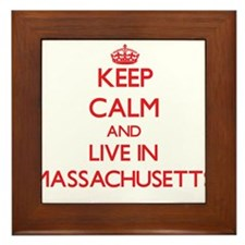 Keep Calm and live in Massachusetts Framed Tile