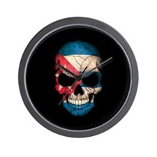 Cuban Flag Skull on Black Wall Clock