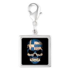 Greek Flag Skull on Black Charms