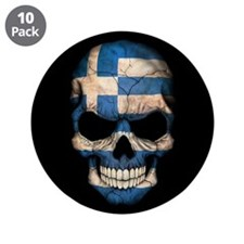 "Greek Flag Skull on Black 3.5"" Button (10 pack)"