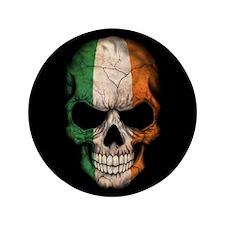 "Irish Flag Skull on Black 3.5"" Button (100 pack)"