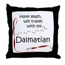Dalmatian Travel Leash Throw Pillow