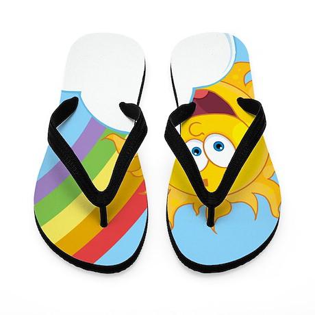Fun Rainbow Design Flip Flops