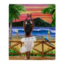 HAWAIIAN SUNSET HULA Throw Blanket