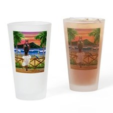 HAWAIIAN SUNSET HULA Drinking Glass