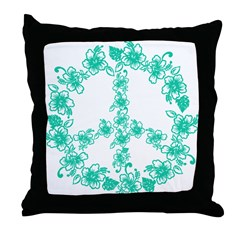 Hula Peace turquoise Throw Pillow