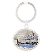 Claude Monet - The Magpie Oval Keychain