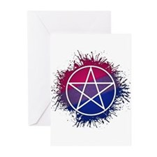 Bisexual Pride Pentacle Greeting Cards (Pk of 10)