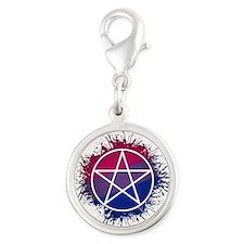 Bisexual Pride Pentacle Silver Round Charm