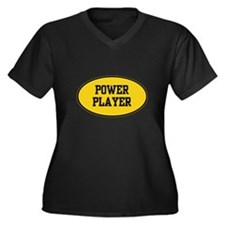 Power Player 1.0 Women's Plus Size V-Neck Dark Tee