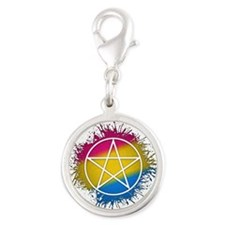 Pansexual Pride Pentacle Silver Round Charm