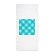 Teal and White Polka Dot Beach Towel