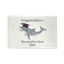 Graduation Dolphin Rectangle Magnet (10 pack)